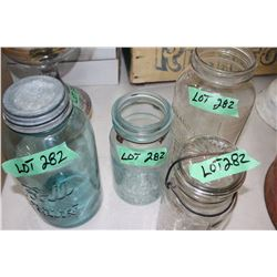 4 Canning Jars - 2 Green - 2 Clear