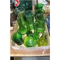 Flat of Green Glass Vases, Bowl & 1 Glass