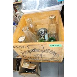 Butter Box with 4 Milk Bottles, Honey Tin, 4 Vases & Noxzema Jar