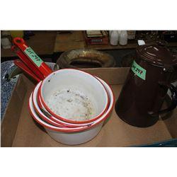 4 Enamel Pots & a Coffee Pot