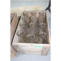 Wooden Box w/12 Milk Bottles