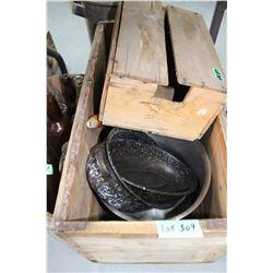 Wooden Box w/Small Roasting Pan, Fry Pan, Stainless Pot & a Mandarin Box