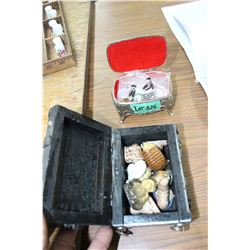 2 Trinket Boxes w/Contents - Wade Ornaments & Lapel Pins