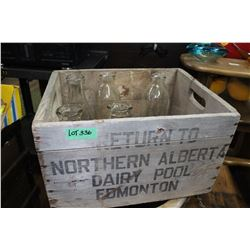 Northern Alberta Dairy Pool Box with Milk Bottles