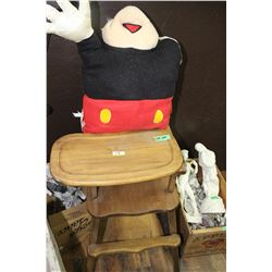 Wooden Winnie the Pooh High Chair & a Stuffed Mickey Mouse