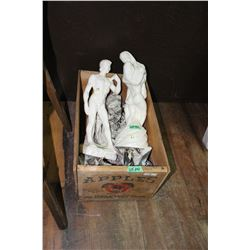 2 Ceramic Figurines in a Wooden Apple Box