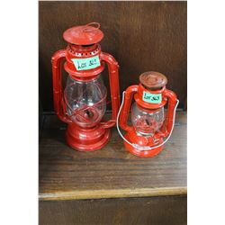 2 Red Barn Lanterns (Smaller Lantern is a Dietz)