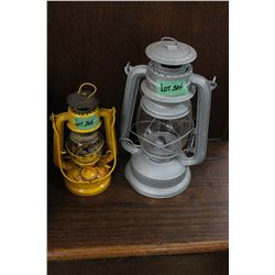 1 Grey & 1 Yellow Barn Lanterns