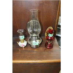 2 Small Oil Lamps & a Bracket Lamp Base