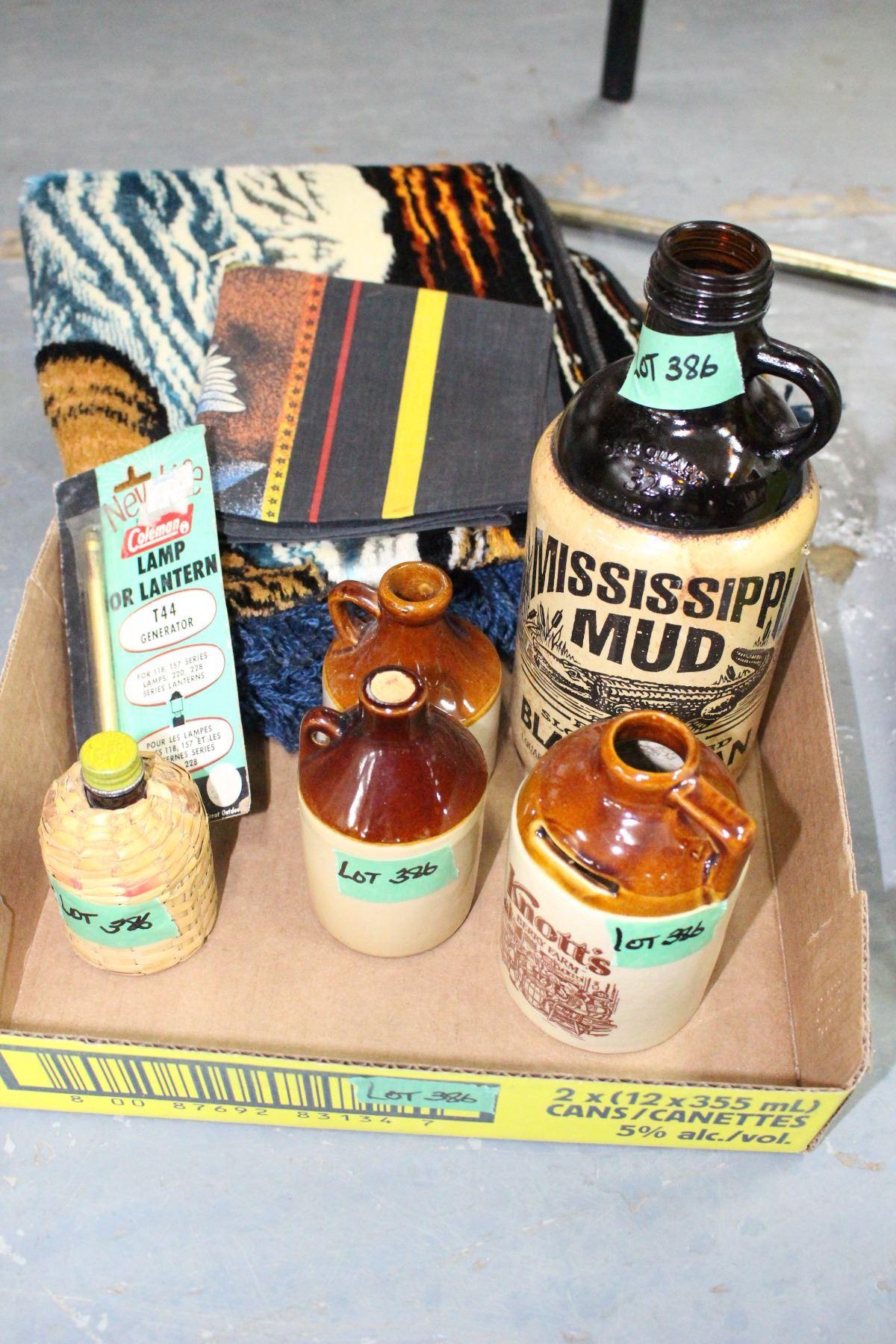 4 Crock Bottles, Glass Jug, Elk Wall Hanging, Harley Advertising & Coleman  Generator