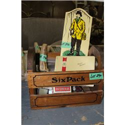 6 Pack Crate of Buttons, Handmade Knife,a Fishing Wall Hanging, Bag w/3 Lighters, Cig. TinwPen Nibs