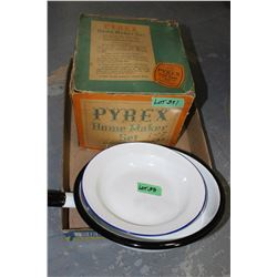 Enamel Fry Pan (Made in Poland), an  Enamel Pie Plate & Pyrex Home Maker Set