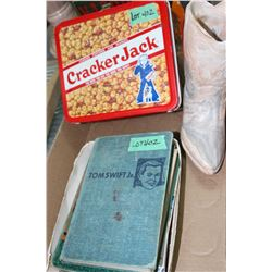 Cracker Jack Lunch Box & Box w/Tom Swift & Lost & Found Books, Several Old Cookbooks & Cowboy Boot