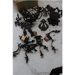 Flat of Cast Iron Brackets for Oil Lamps, Door Pulls & Hinges