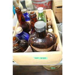 Wooden Box of Collector Bottles
