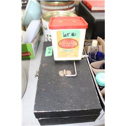 Beach Industries Cash Box w/Tin Inside & a Craven A Tobacco Container w/Match Collection