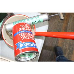 Enamel Pot, Insect Sprayer & Baking Powder Tin