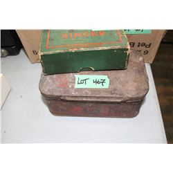 Great West Cut Plug Tobacco Tin & a Singer Box w/Accessories