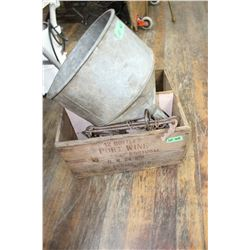 Port Wine Box from Portugal; Box w/2 Animal Traps, Block Pulley & 2 Big Funnels