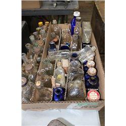 Flat of Small Medicine Bottles, Noxzema Jars & Liniment Bottles