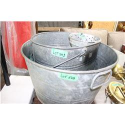 Galvanized Round Tub & a Mop Pail
