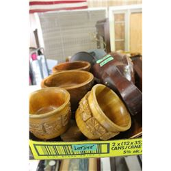 Flat of 4 Wooden Bowls, 2 Wood Drink Vessels, 2 Wooden Spigots, Wooden Elephant & 4 Plates