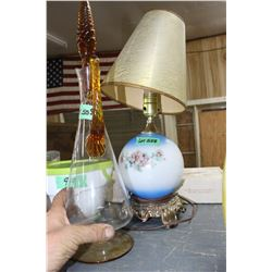 Electric Lamp & a Glass Decanter with Stopper