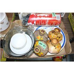 Pyrex Casserole, 3 Plates, Handkerchiefs, Solar Lanterns & Candleholders