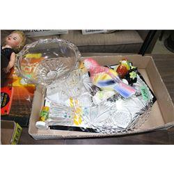 Flat w/Glass Tray, Cream/Sugar, Vintage Buttons, 2 Birds & Pedestal Dish