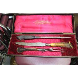 3 pc. Carving Set (Knife, Fork & Steel Sharpener) w/Bone Handles