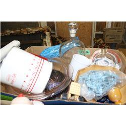 Flat w/Pink Bowl, Décor Plate, Blue Vase, Decanter, Bowl w/Contents, Sifter, Etc.