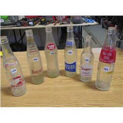 6 Pop bottles, Old Colony, Drewerys. Double Cola, Mission, Stubbys, diet rite Cola