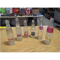 6 Pop bottles, Drewerys, 2 Stubby's, Mission, Royal Crown, diet rite Cola