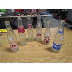 6 Pop bottles Kik, diet rite Cola, 2 Stubby's, Double Cola, Mission