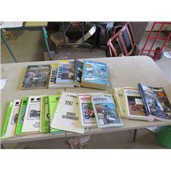 24 Manuals, 5 Honda, 3 Johnson, 3 yamahaha, 9 Kawasaki, 1 Mercury Outboard and Bikes, 1 Schulte, 1 C