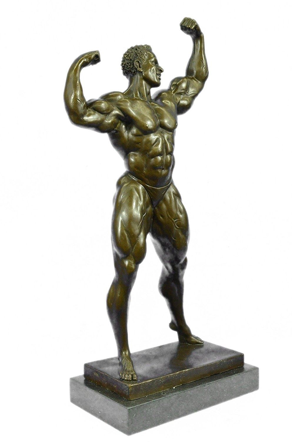 Gay Male Nude Bronze Sculpture on Marble Base Statue
