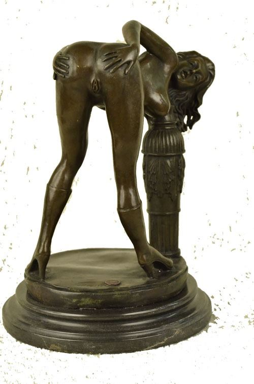Western Bronze statue De Marbre Jupe fille Sexy femme Art