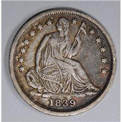 1839 SEATED HALF DIME, XF/AU
