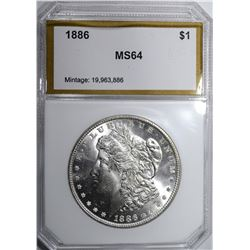 1886 MORGAN DOLLAR, PCI CH/GEM BU