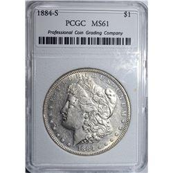 1884-S MORGAN DOLLAR, PCGC GRADED BU LOOKS AU