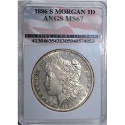 1886-S MORGAN DOLLAR, ANGS GEM BU LOOKS AU/BU