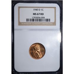 1940-D LINCOLN CENT, NGC MS-67 RED