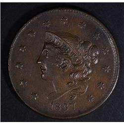 1837 LARGE CENT  CHOICE AU+