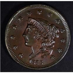 1838 LARGE CENT  CH BU+