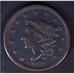 1839 LARGE CENT  XF