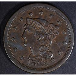 1852 BRAIDED HAIR LARGE CENT  AU+