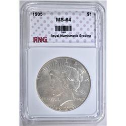 1935 PEACE DOLLAR RNG CH BU