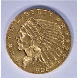 1908 $2.50 GOLD INDIAN CH BU