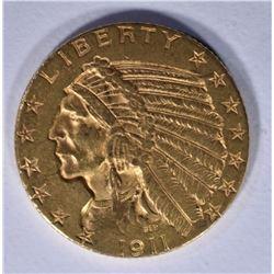 1911 $5 GOLD INDIAN CHOICE BU