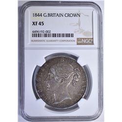 1844 G.BRITAIN CROWN NGC XF45